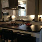 kitchen stove and hood installed